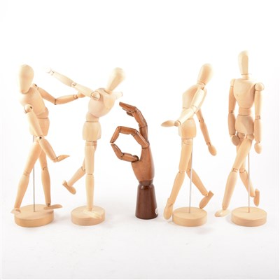 Lot 99-Collection of modern beechwood artist's lay figures