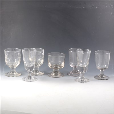 Lot 10-Three Victorian Tavern rummers, and other glassware