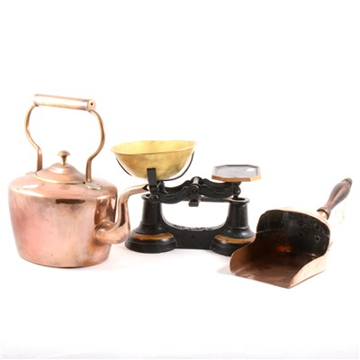 Lot 83-A Victorian copper kettle, bras weights, and metalwares