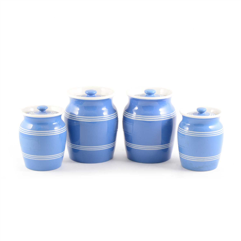 Lot 35-A collection of blue glazed storage jars