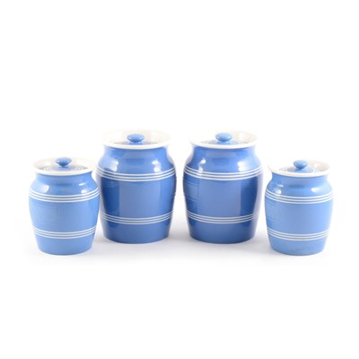 Lot 35-A collection of blue glazed storage jars