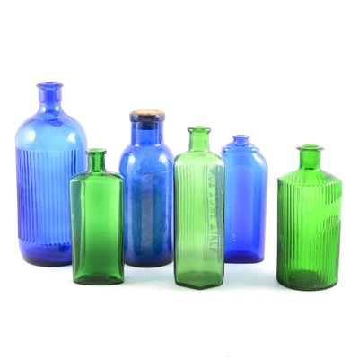 Lot 48-Collection of coloured glass chemist's bottles