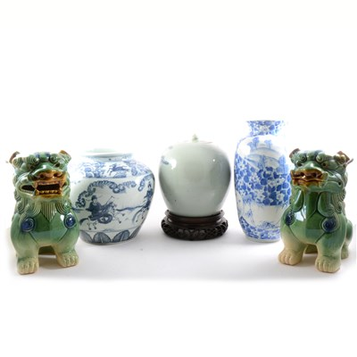 Lot 63-Chinese Wanli style blue and white jar, and other Chinese ceramics, and a pair of temple lions