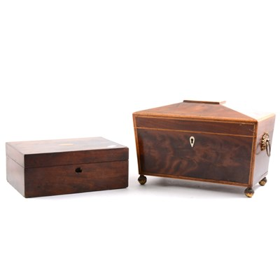 Lot 89-A George III sarcophagus-shape tea caddy, and two boxes.