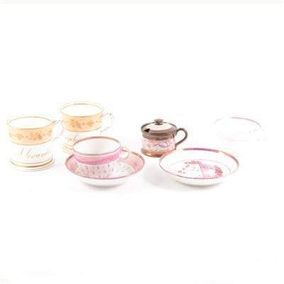 Lot 45-Two Victorian bone china 'named' mugs, copper lustre ware, etc