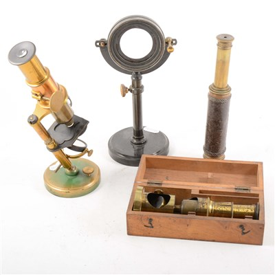 Lot 91-A lacquered brass student microscope, field microscope, and two telescopes