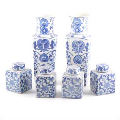 Lot 36-A pair of modern Chinese blue and white vases, and twenty covered jars