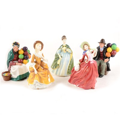 Lot 4-Ten Royal Doulton figures, including The Old Balloon Seller