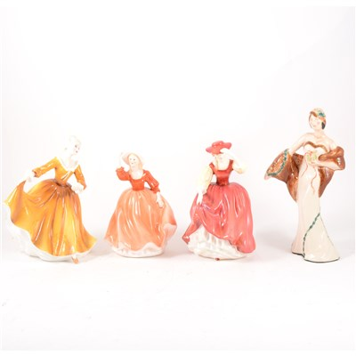 Lot 2-Four Royal Doulton figures, and four other figurines.