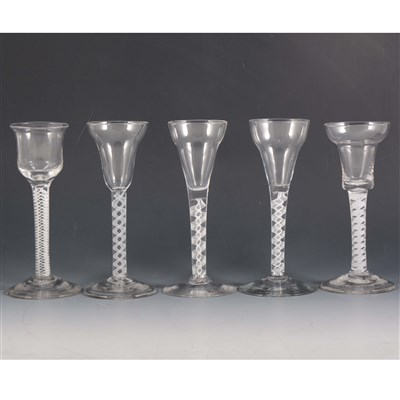 Lot 2-A George III style wine glass, together with four other glasses