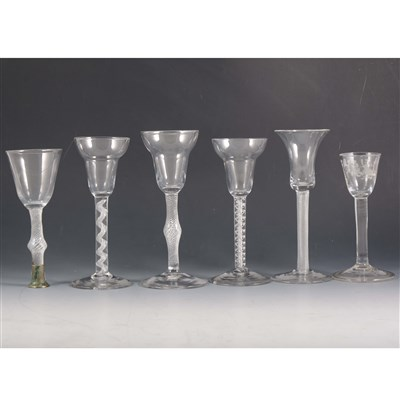 Lot 3-A George III style cordial glass, together with five other glasses.