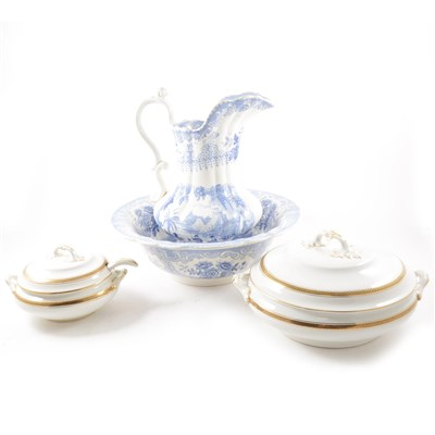"""Lot 62-A blue and white """"Panorama"""" jug and bowl by South Wales Pottery and a part dinner service by Losol Ware"""