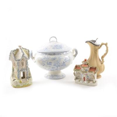 Lot 23-Staffordshire pottery cottage pastille burner, etc.