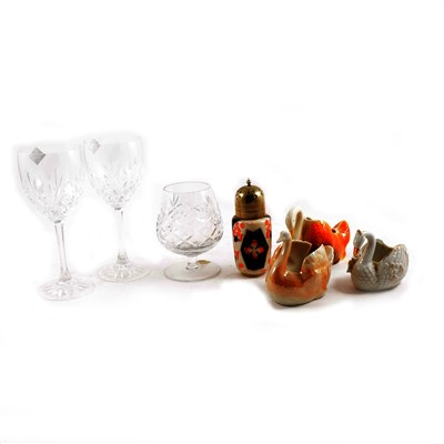 Lot 38-A collection of glass and ceramics, to include six Edinburgh crystal wine goblets and model swans