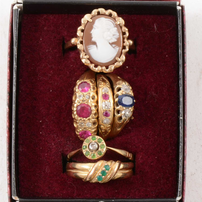 Six coloured stone dress rings.