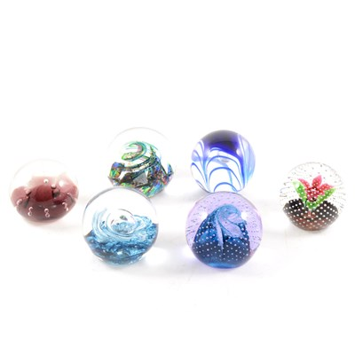 """Lot 29-A collection of glass paperweights, to include Caithness """"Seaform"""", """"Nova"""", """"Dragonfly"""" etc."""