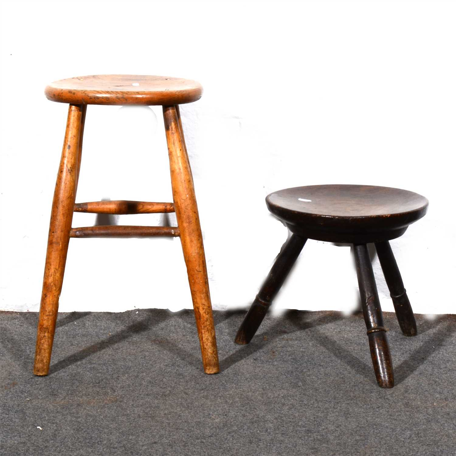 Fine Lot 412 Old Oak Peg Leg Stool With Dished Circular Ibusinesslaw Wood Chair Design Ideas Ibusinesslaworg