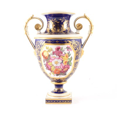 Lot 21-A twin-handled urn-shape vase, by Bloor Derby.