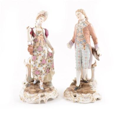 Lot 26-A pair of Continental porcelain figures