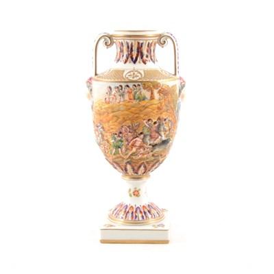 Lot 47-Naples porcelain campana shape vase