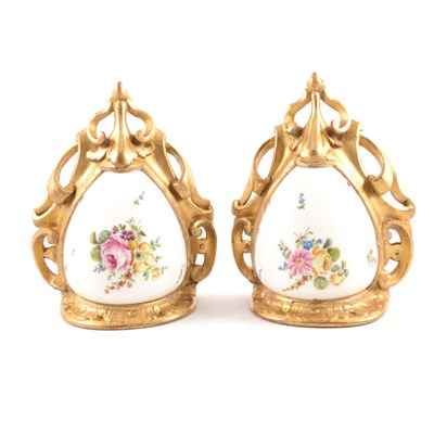 Lot 16-Pair of porcelain mounted gilt wood wall brackets