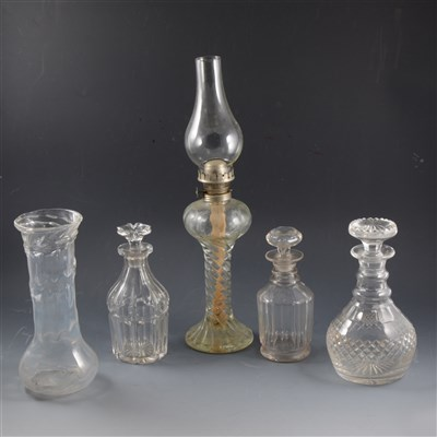 Lot 9-A pair of 19th Century cut glass decanter; and other glassware.