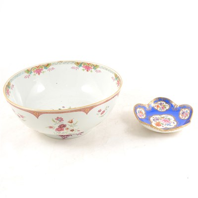 Lot 5-Chinese porcelain bowl, and a Meissen bon-bon dish.