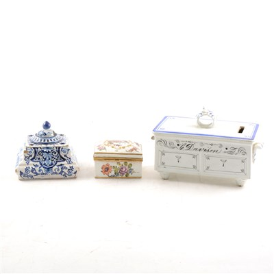 Lot 28-Dresden porcelain oblong shape snuff box, after Watteau, and two other items.