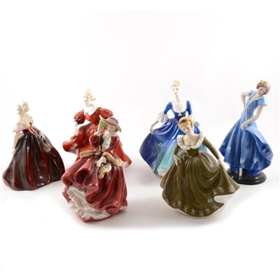 Lot 18-Royal Doulton and Coalport lady figurines