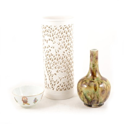 Lot 18-Chinese porcelain bottle vase, streaked tortoiseshell glaze, and two other items.
