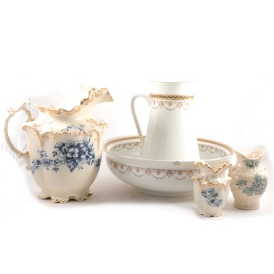 Lot 82-Bridgewood & Sons, Dart pattern pottery jug and bowl, and another wash set.