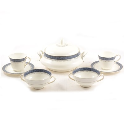 Lot 38-Royal Doulton part dinner and tea service, Sherbrooke pattern.
