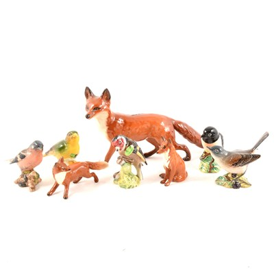 Lot 6-Three Beswick foxes and five Beswick birds