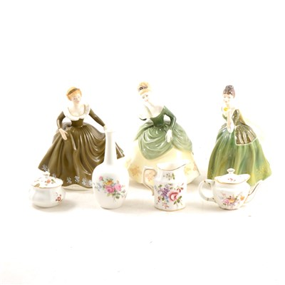 Lot 36A-Four Royal Doulton lady figures and a small collection of Royal Crown Derby