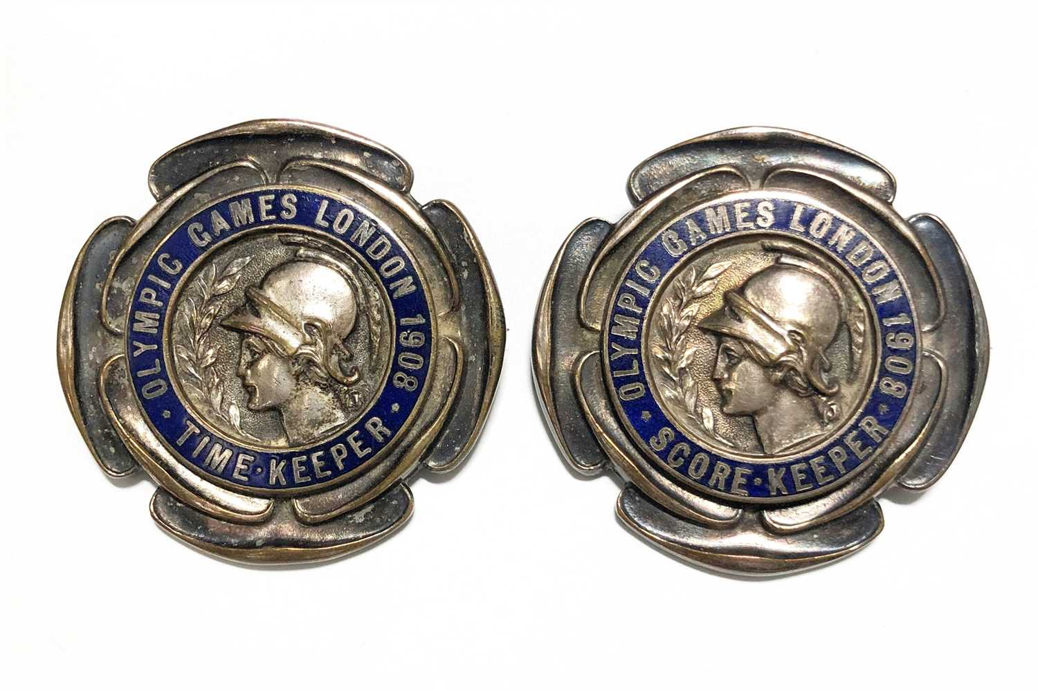 Lot 93-Olympic Interest: London 1908, a Time-Keeper's badge and Score-keeper's badge.