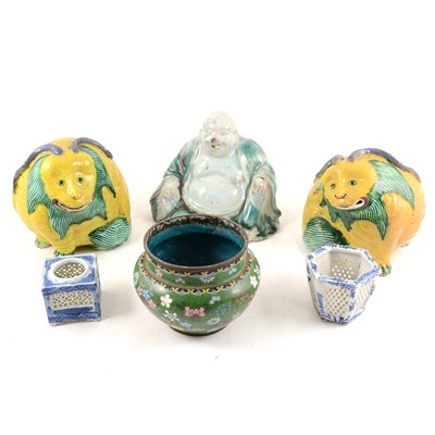 Lot 42-Cloisonné jardinière and two additional cloisonné vases and other Asian items