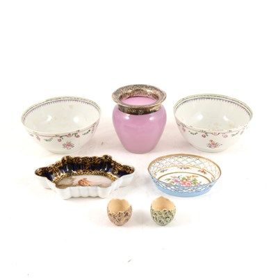 Lot 41-A quantity of 19th Century china, and an enamelled pin dish