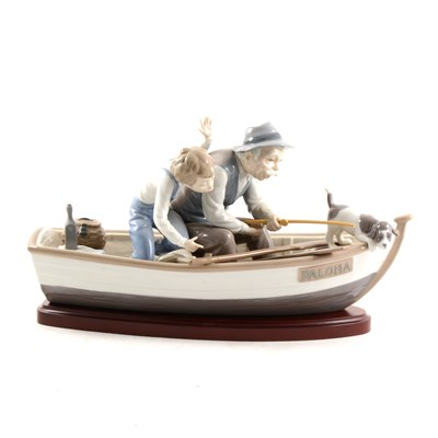 Lot 20-A large Lladro group, 'Fishing with Gramps'/  'Paloma'