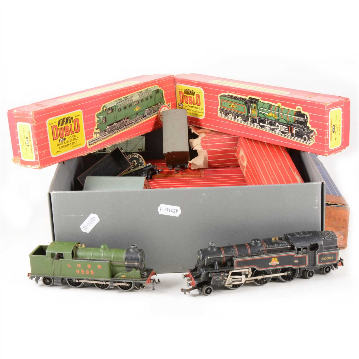 Lot 23-Hornby Dublo OO model railways; including four locomotives, wagons and passenger coaches.
