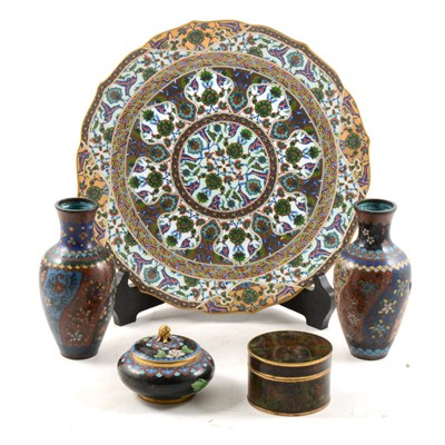 Lot 16-A pair of cloisonné vases, two cloisonné boxes and covers, and a plate.
