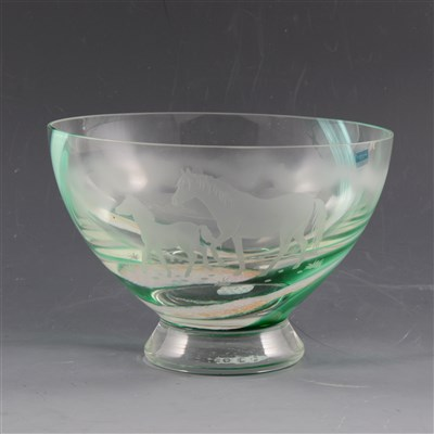 Lot 24-Caithness Glass footed bowl, acid etched with horse and foal in a landscape