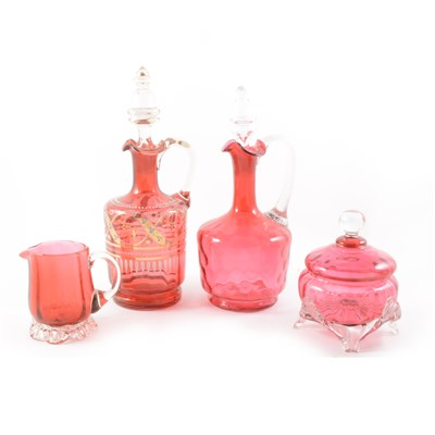 Lot 13-A Cranberry glass claret jug and other cranberry items