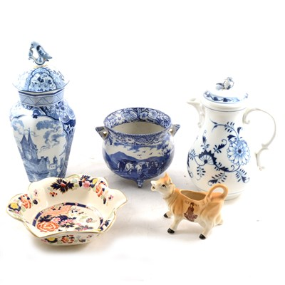 Lot 47-Meissen style Onion pattern ewer and cover, and other assorted ceramics.