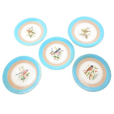Lot 51-Worcester dessert service, comprising ten plates and three comports