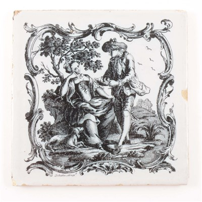 Lot 15-An English delft tile, by John Sadler of Liverpool, 1760's