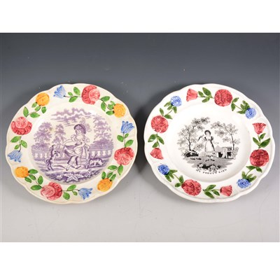 Lot 17-Two Pearlware type nursery plates, My Pretty Bird, 1830's, and Child dancing
