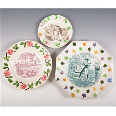 Lot 18-A Staffordshire nursery plate, Steamboat, Goodwins & Harris, 1830's; and two other plates