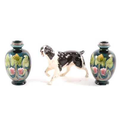 Lot 75-Pair of Art Nouveau pottery vases, with silver collars, and a Beswick pointer