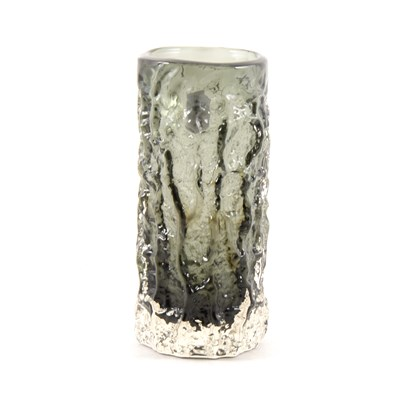 Lot 33-Whitefriars Textured Glass vase, bark effect, pewter colourway