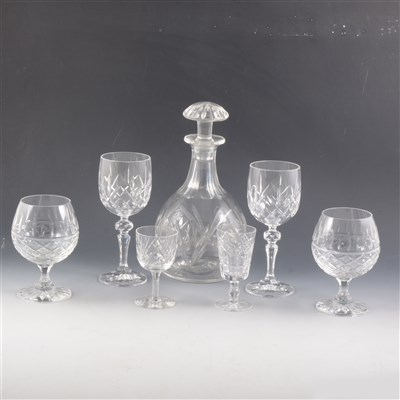 Lot 56-Pair of mallet-shape cut glass decanters, and other glassware